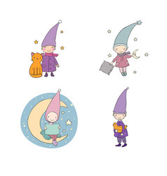 set of cute cartoon gnomes vector image