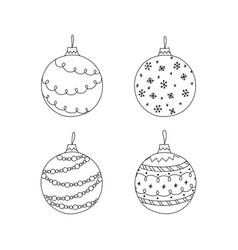 set of hand drawn christmas ball toy christmas vector image