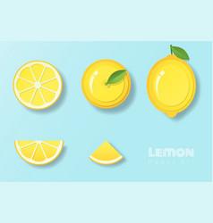 set of lemons in paper art style vector image
