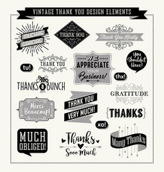 Set of thank you card design elements vector