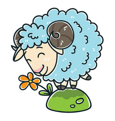 Sheep with a flower vector