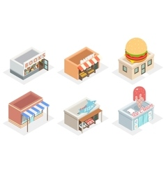 Shops and stores 3d isometric icons vector