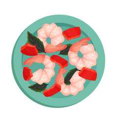 Shrimps rested on plate with leaf garnish top view vector