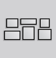 six wall photo frames in different sizes vector image
