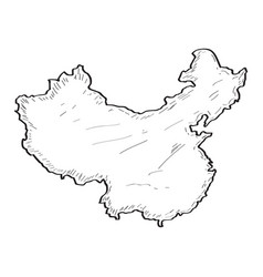 sketch of a map of china vector image