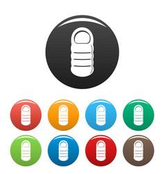 sleeping bag icons set color vector image