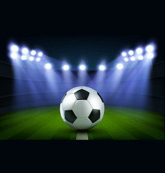 soccer ball on stadium football arena banner vector image