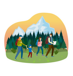 Sport family walk hiking camping outdoor tree vector