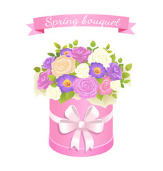 spring bouquet with rose and peony flowers leaves vector image