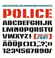 Stencil plate font in military style vector