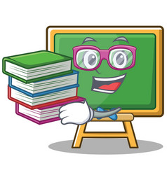 Student with book chalk board character cartoon vector