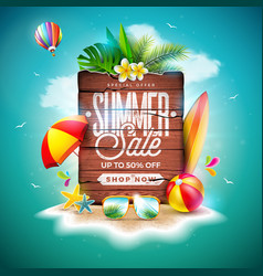 summer sale design with exotic palm leaves and vector image