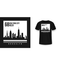 t-shirt graphic design with new york skyline vector image