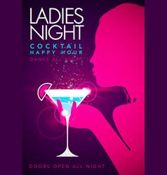 Template party event happy hour ladies night flyer vector