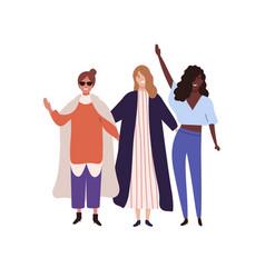 three stylish happy girl raising hands flat vector image