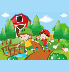 two boys skating on the farm road vector image vector image