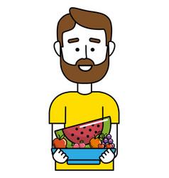 upperbody man cartoon vector image