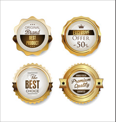 white and gold badges luxury collection 04 vector image