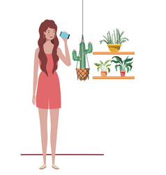 woman with houseplant and macrame hangers vector image