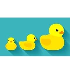 Yellow rubber ducks vector