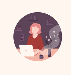 young freelancer woman working remotely from home vector image