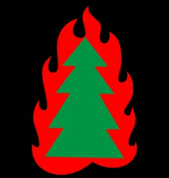 Christmas tree on fire vector image