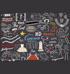 cinema and film industry set hand drawn sketch on vector image