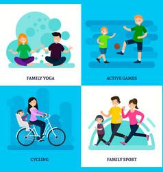 colorful sport family square composition vector image