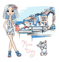 cute fashion girl in manarola italia vector image vector image