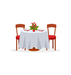 dining table and chairs for two people romantic vector image