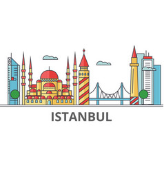 Istanbul city skyline buildings streets vector