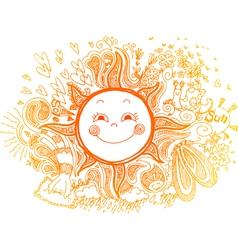 Sketchy doodle of orange sun vector image