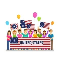 USA United States Happy crowd of people with vector image vector image