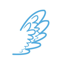 blue wing feather fly decoration symbol emblem vector image vector image