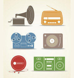 Digital and analogue music players icons vector image vector image