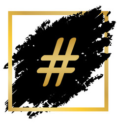 hashtag sign golden icon at vector image
