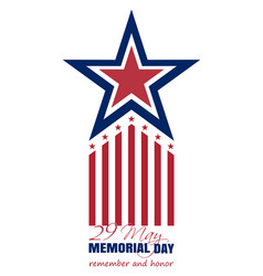 memorial day card 2017 29 may remember and honor vector image vector image