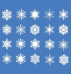 set of twenty openwork snowflakes vector image vector image
