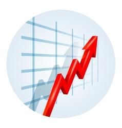 Upward trending arrow on a business graph vector image vector image