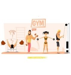 Young people are engaged in body building vector image