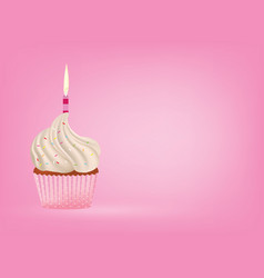 cupcake with candle on pink background vector image