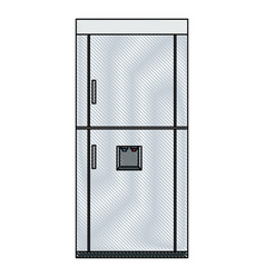 Drawing refrigerator freeze modern stainless vector