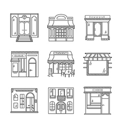 Linear icons for storefronts vector image
