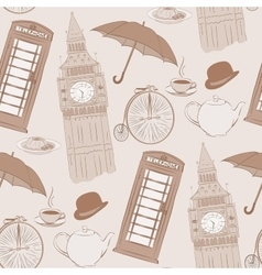 Retro hand drawn London pattern vector image vector image