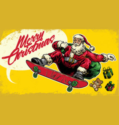 Santa claus ride skateboard in hand drawing style vector