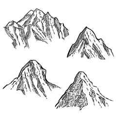set of mountain sketches design element for vector image vector image