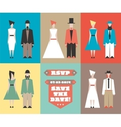 Wedding invitation with figurines vector image