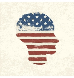 american flag head shaped vector image vector image