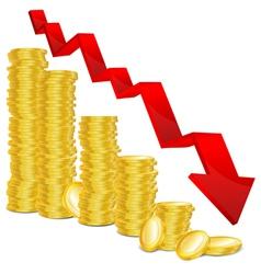 golden coin graph vector image vector image