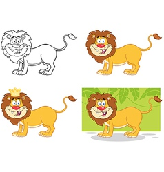 Lion Cartoon Character Collection vector image vector image